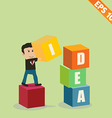Cartoon Businessman stacking idea box - - EP vector image vector image