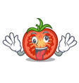crazy red tomato slices isolated on mascot vector image vector image