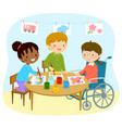 disabled girl drawing with friends vector image