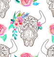 Doodle bull skull with watercolor flowers and vector image vector image