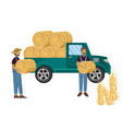 farmers working hay harvesting flat styles vector image vector image