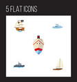 flat icon vessel set of ship yacht vessel and vector image vector image