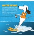 Funny cartoon dog water skiing Happy moments vector image vector image