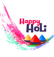 happy holi greeting design background vector image vector image