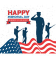 happy memorial day celebration card with usa flag vector image