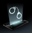 Icon handcuffs Hologram vector image