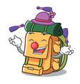 juggling backpack mascot cartoon style vector image