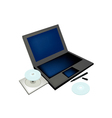 Laptop Computer with Pen and Compact Disc vector image vector image