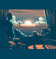 lover inside room with a beautiful sunset vector image vector image
