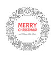 merry christmas circle banner with vector image