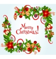 Merry Christmas poster with decorations vector image