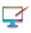 monitor with brush sign colorful icon vector image