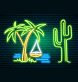 neon signs and icons cactus and tropical plants vector image vector image