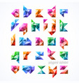polygonal font alphabet vector image vector image