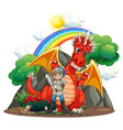 red dragon and knight with sword vector image vector image