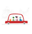 red taxi car with people and cat drive on city vector image vector image