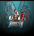 rooster with gun mascot logo design vector image vector image