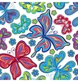 Seamless floral background with butterflies