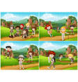 set camping kids in nature vector image