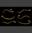 set golden shimmering waves with light effect vector image vector image