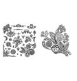 Set of black line floral design elements in henna
