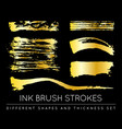 set of golden paint strokes to make a background vector image vector image