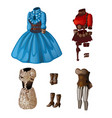 set of lingerie dresses and boots vector image