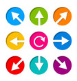 set of white arrow icon in circle vector image vector image