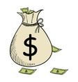 sketch of a money bag