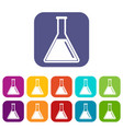 test tube with oil icons set vector image vector image