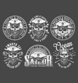 vintage monochrome sailing and marine emblems vector image vector image