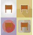 Wooden board flat icons 07 vector image