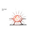 yoga brain concept hand drawn isolated vector image vector image