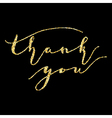 Thank you type on Golden glitter sparkles vector image