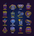 fast food neon shop sign icons set cartoon style vector image