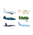 airplanes set modern passenger liners retro vector image vector image