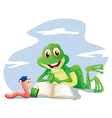An earthworm and a frog reading vector image vector image