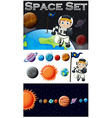 Astronaunt and solar system vector image vector image