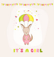 bagirl kangaroo flying with a parachute vector image vector image