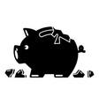 broken piggy bank icon simple black style vector image vector image