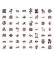 brown tribal symbols set vector image