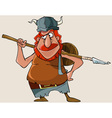cartoon viking red man with a weapon vector image vector image