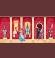 castle interior people cartoon vector image