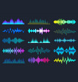 colored sound waves collection analog and digital vector image