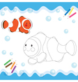 Coloring book clownfish vector image vector image