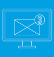 computer monitor with envelope icon outline style vector image vector image