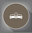 crashed cars sign white icon on brown vector image vector image