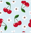 cute seamless pattern with cherry fruit vector image vector image