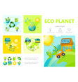flat ecology infographic template vector image vector image