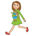 girl with a doll vector image vector image
